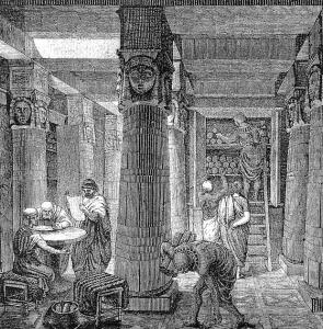La Biblioteca di Alessandria d'Egitto in una stampa dell'800