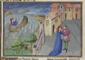 Decameron, Gostanza e Martuccio, in una miniatura del XV secolo